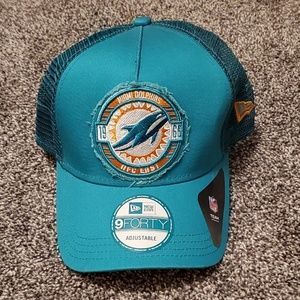 NWT Aqua NFL Miami Dolphins adjustable trucker hat